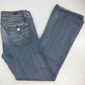 Womans Vigoss Faded Denim Mid Rise Boot Cut Jeans
